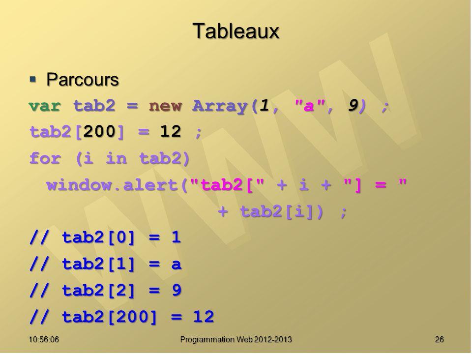 Tableaux Parcours var tab2 = new Array(1, a , 9) ; tab2[200] = 12 ;